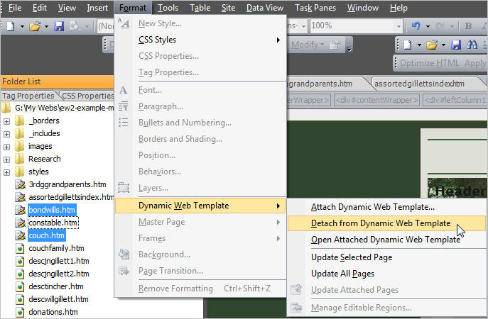 dynamic web templates in expression web