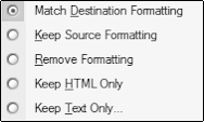 Paste Expanded with Match Destination Formatting selection.